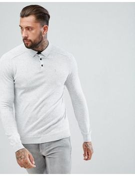 River Island Fine Knit Polo In Grey Marl by River Island