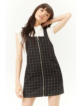 Grid Zip Front Overall Mini Dress by Forever 21