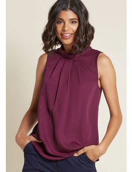 Stylized Supervisor Sleeveless Top In Plum by Modcloth