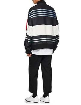 Ma 1 Striped Linen Bomber Jacket by Off White C/O Virgil Abloh