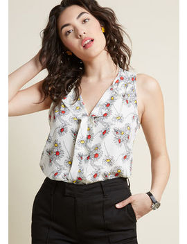 Isle Be Seeing You Sleeveless Top In Mustard Floral by Modcloth