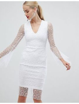 Vesper Allover Lace Pencil Dress With Fluted Sleeve In White by Vesper