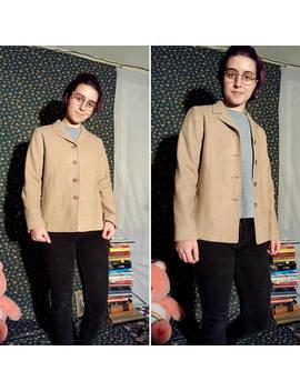 Vtg Pendleton Brand Wool Tan, Beige Long Sleeve Button Up Women's Blazer Jacket / Oatmeal, Minimal, Simple, Basic, Plain by Etsy
