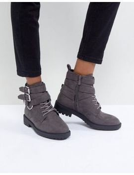 Raid Helena Gray Multi Buckle Grunge Flat Ankle Boots by Raid