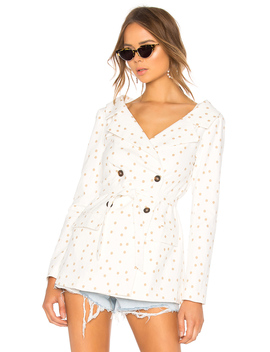 Polka Dot Wide Neck Blazer by Lpa