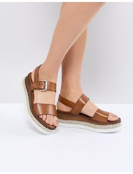 Dune Leather Flatform Sandal With Studded Sole by Dune