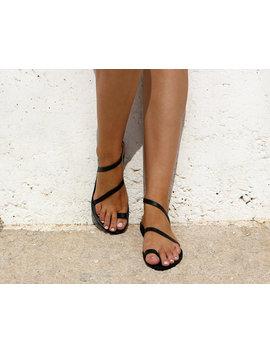 Black Leather Sandals, Ankle Strap Sandals, Greek Sandals, Women Shoes, Women Sandals, Flat Sandals by Etsy