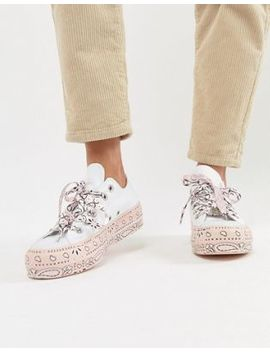 Converse X Miley Cyrus All Star Platform Sneakers In White And Pink Bandana Print by Converse