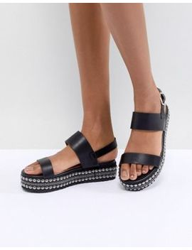 Glamorous Black Embellished Flatform Sandals by Glamorous