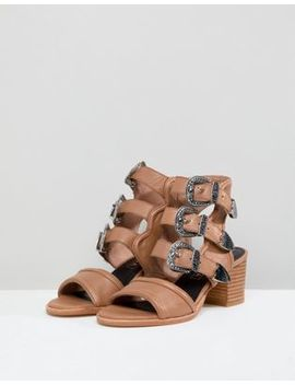 Sol Sana Clementine Tan Triple Buckle Heeled Sandals by  Sol Sana