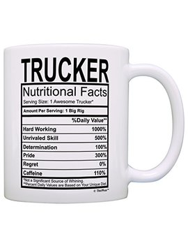 Truck Driver Gifts Trucker Nutritional Facts Label Big Rig Long Haul Gift Coffee Mug Tea Cup White By This Wear by This Wear