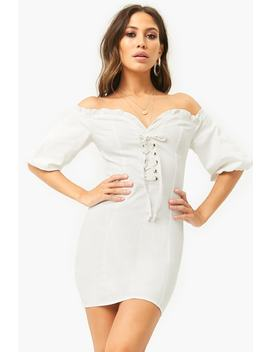 Lace Up Off The Shoulder Mini Dress by Forever 21