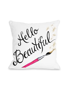 Hello Beautiful Sparkles/Sparkles   White Black Gold 18x18 Pillow By Timree by One Bella Casa