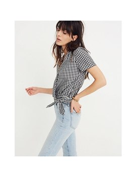 Short Sleeve Wrap Top In Gingham Check by Madewell