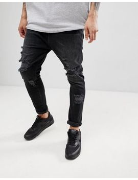 Asos Design Drop Crotch Jeans In Washed Black With Heavy Rips by Asos Design