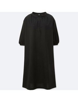 Women Mercerized Cotton Gathered 3/4 Sleeve Dress by Uniqlo