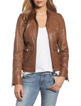 Patch Pocket Leather Biker Jacket by Lamarque