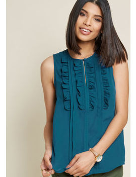Utmost Enthusiasm Ruffled Blouse In Blue by Modcloth