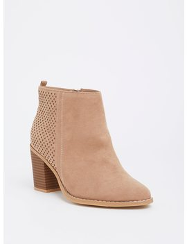 Natural Perforated Stacked Bootie (Wide Width) by Torrid