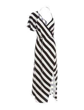 Striped Wrap Midi Dress by Michelle Mason