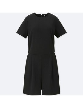 Women Ponte Short Sleeve Romper by Uniqlo