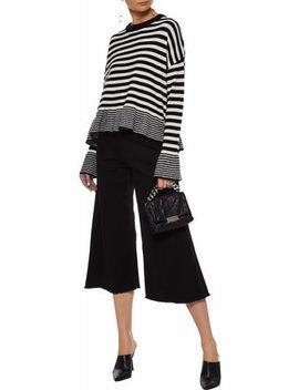 Seren Fluted Striped Wool Blend Sweater by Cinq À Sept
