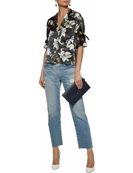 Juno Embroidered Floral Print Silk Satin Blouse by Cinq À Sept