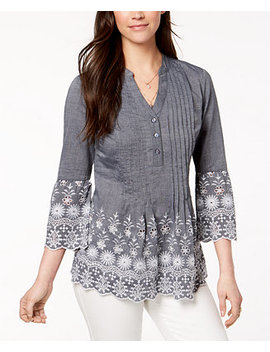 Cotton Eyelet Trim Blouse, Created For Macy's by Style & Co