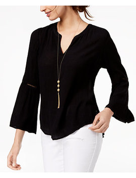 I.N.C. Ladder Trim Bell Sleeve Top, Created For Macy's by Inc International Concepts
