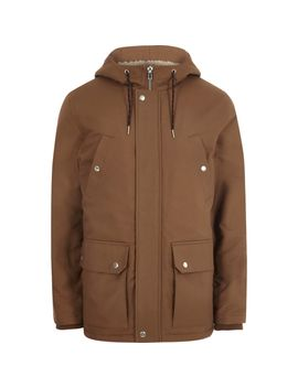 Brown Hooded Fleece Lined Jacket by River Island