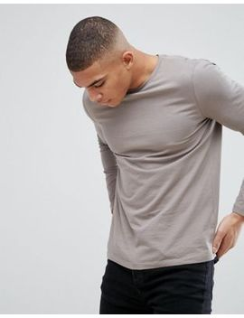 Asos Crew Neck T Shirt With Long Sleeves In Beige by Asos