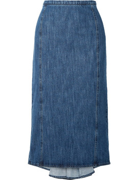 Pleated Denim Midi Skirt by Michael Kors Collection