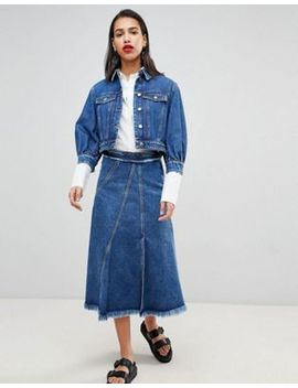 Sportmax Code Crop Denim Jacket & Midi Skirt Co Ord by Asos