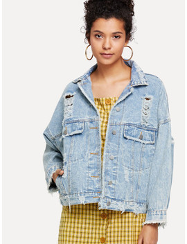 Ripped Bleach Wash Denim Jacket by Sheinside