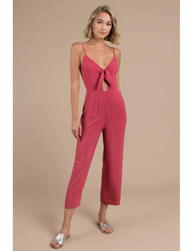 Woman Renegade White Tie Front Jumpsuit by Tobi