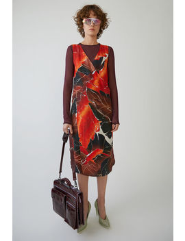 Short Tunic Dress Brown / Red Leave by Acne Studios