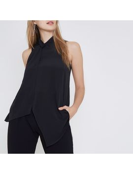Black Twist Neck Layered Front Sleeveless Top by River Island