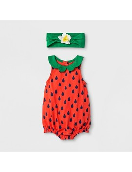 Baby Girls' 2pc Strawberry Romper And Flower Headband Set   Cat & Jack™ Red by Cat & Jack™