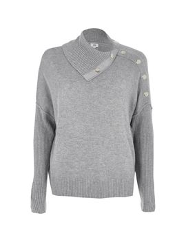 Grey Popper Detail Sweater by River Island