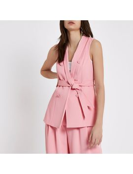 Pink Sleeveless Double Breasted Jacket by River Island