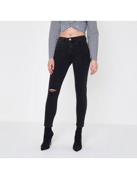 Black Distressed Alannah Relaxed Skinny Jeans by River Island