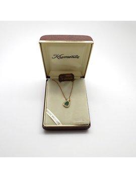 Vintage New Krementz 14 K Gold Overlay Genuine Malachite Necklace In Original Box by Etsy