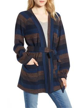 Stripe Wrap Front Jacket by Hinge