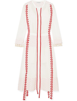 Grenelle Broderie Anglaise Trimmed Swiss Dot Cotton And Chiffon Midi Dress by Altuzarra