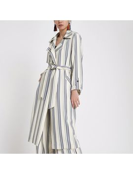Blue Stripe Tie Waist Trench Coat                                    Blue Stripe Paperbag Belted Culottes by River Island