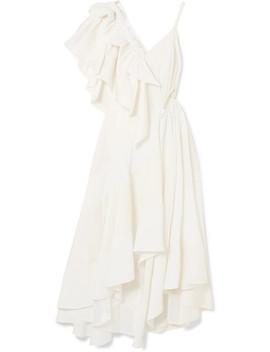 Cutout Ruffled Jacquard And Crepe Dress by Loewe