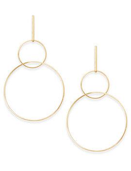 Gold Tone Interlocking Drop Hoop Earrings, Created For Macy's by Thalia Sodi