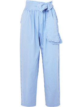 Ruffled Striped Cotton Blend Poplin Tapered Pants by Msgm