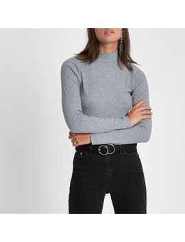 Grey Brushed Rib High Neck Top by River Island