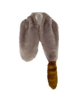Grey Faux Fur Fox Tail Shawl Scarf by River Island